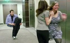 "Andy Gross ""SplitMan"" Returns / Magician Cut in Half Elevator magic trick prank"
