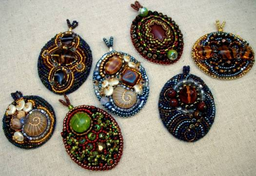 Bead embroidered pendants by Cindy Caraway