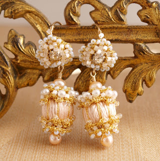 Peach and Gold wedding earrings with pearls and crystals
