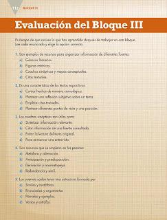 Apoyo Primaria Español 5to grado Bloque III Evaluación del Bloque III