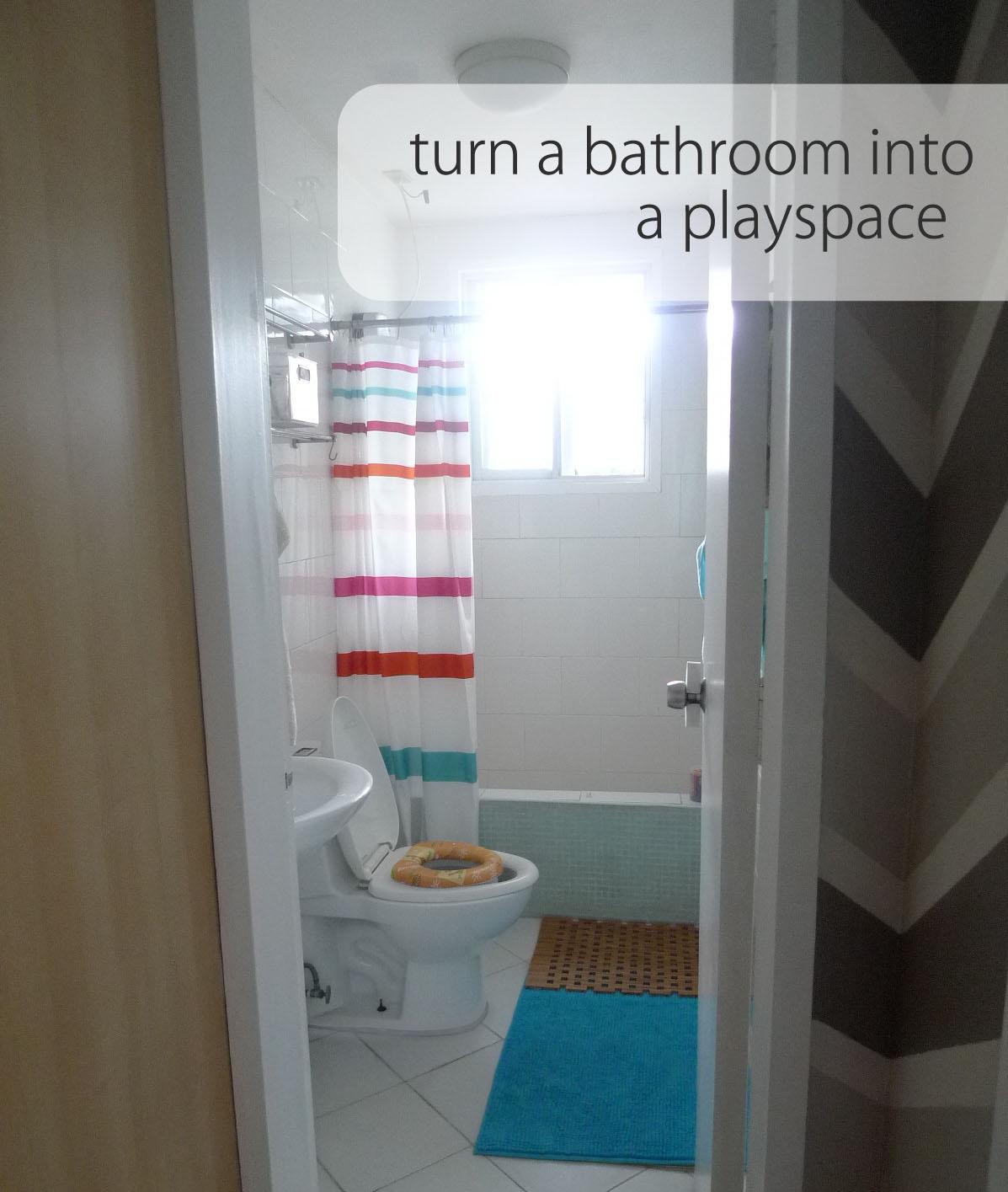 Diy corporate mom play spaces the bathroom for Play 1 bathroom
