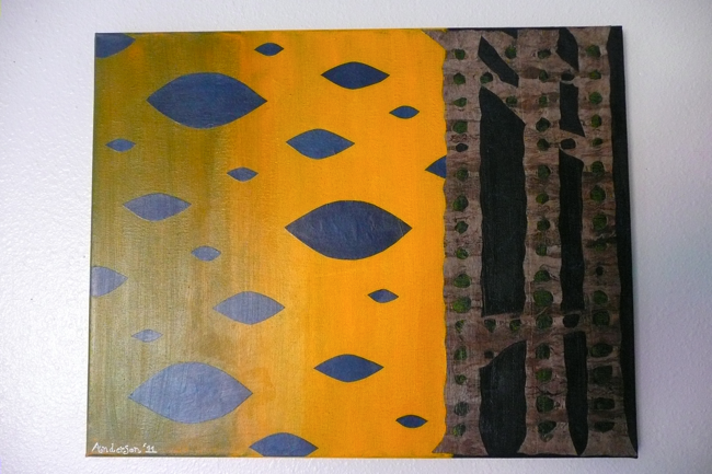 painting, collage, acrylic paint, prussian blue hue, indian yellow, cadmium yellow deep, awagami paper, amate weave paper