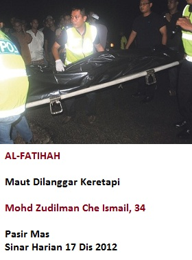 Mati Dilanggar Keretapi