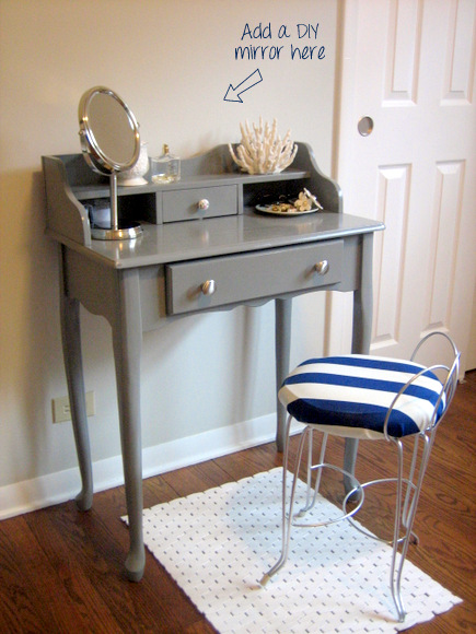 Gray vanity makeover with striped seat