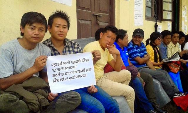 Lepcha Para Teacher  indefinite dharna in front of SI office