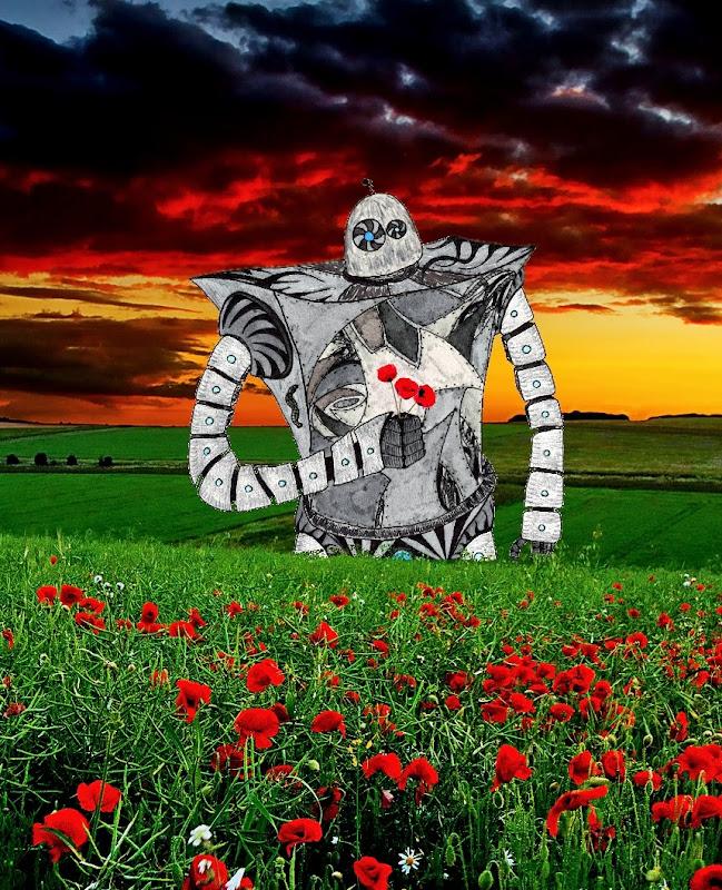 Robot cueillant des coquelicots Robot+tenant+une+fleur+4