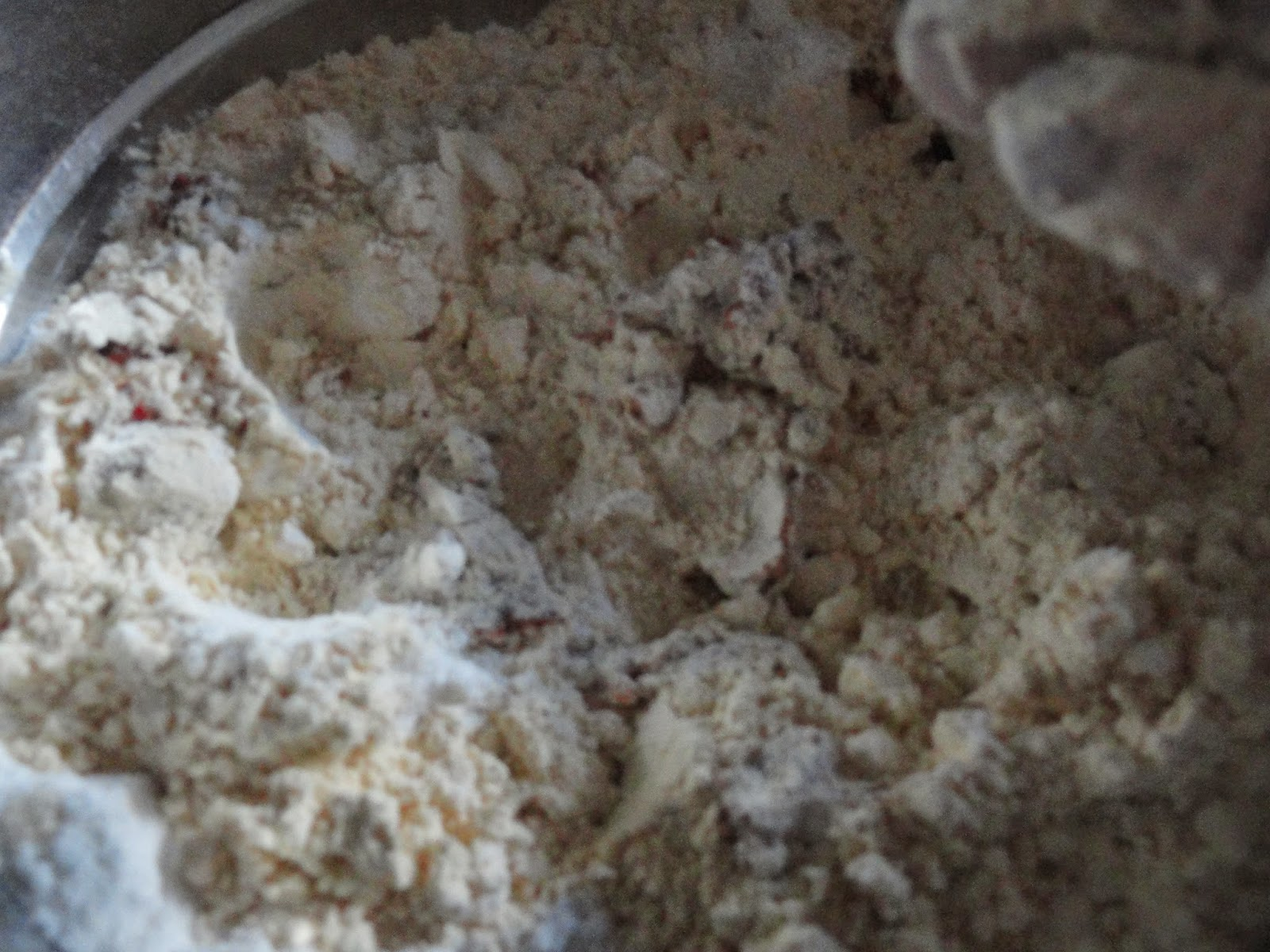 Add ground paste to flour