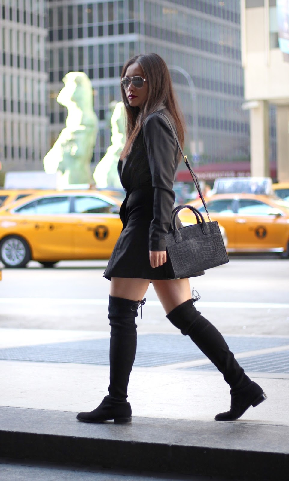 Black blazer dress Monica Rose Keaton Lovers + Friends Stuart Weitzman Lowland boots Emily Cho tote bag