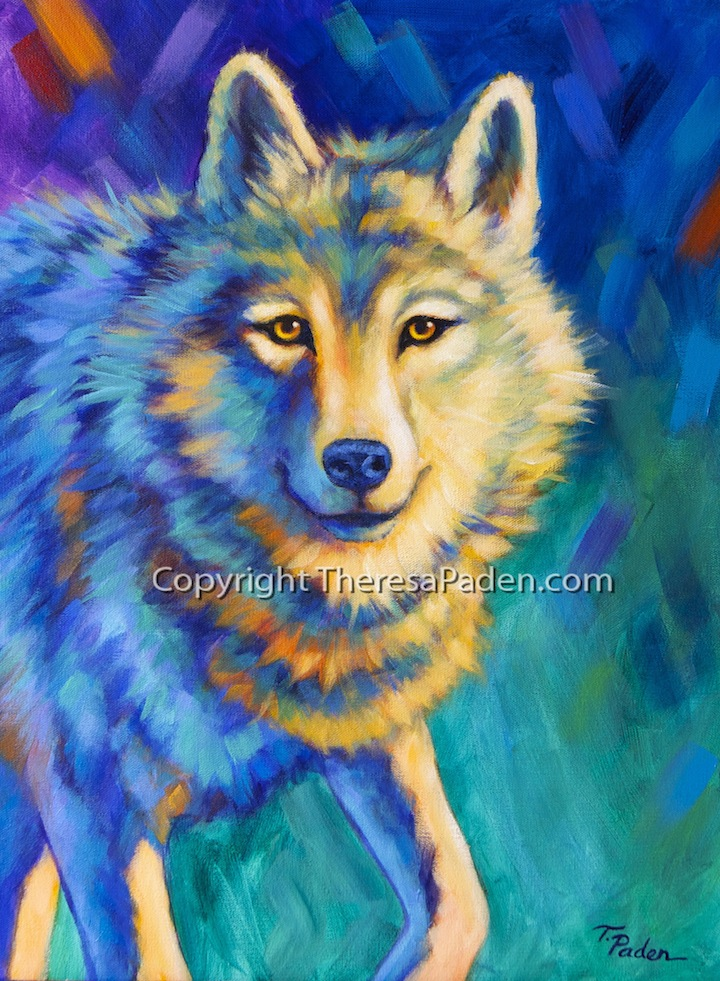 Paintings by Theresa Paden: Colorful Wolf Art Original ...