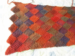 entrelac shawl in bright rainbow colors