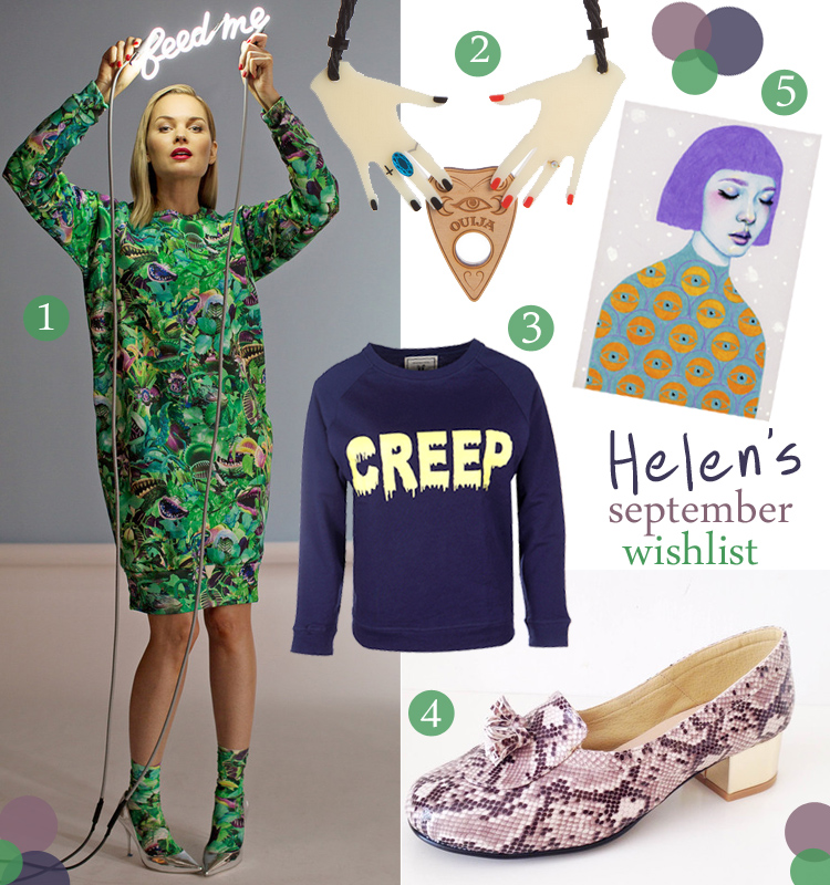 wishlist, blogger favourites, wish list, clashist little shop of horrors dress, sugar and vice halloween necklace, brat and suzie creep sweater, Golden Ponies snake skin loafers, Natalie Loss print, illustration