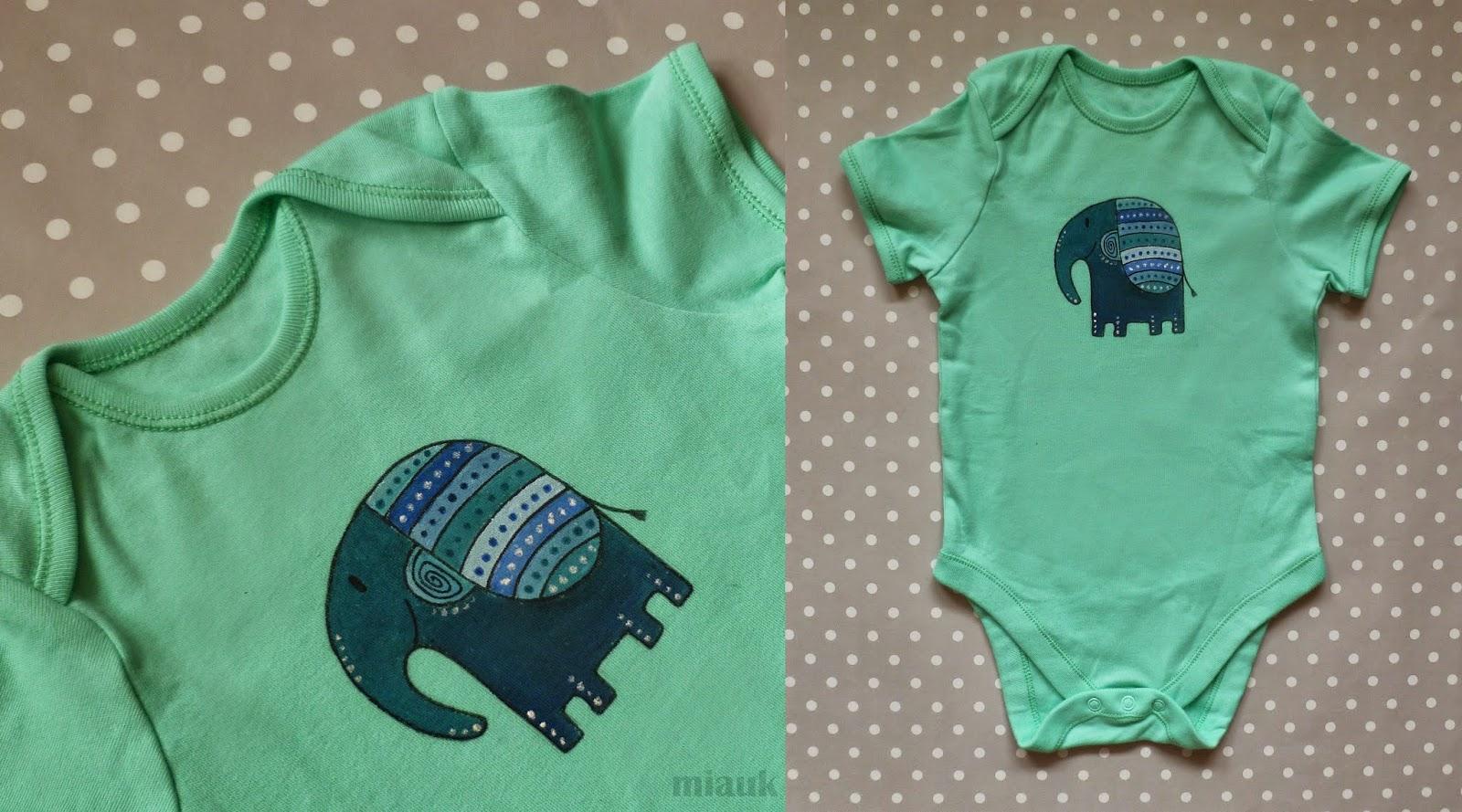 ručně malované bodýčko pro miminko - slon