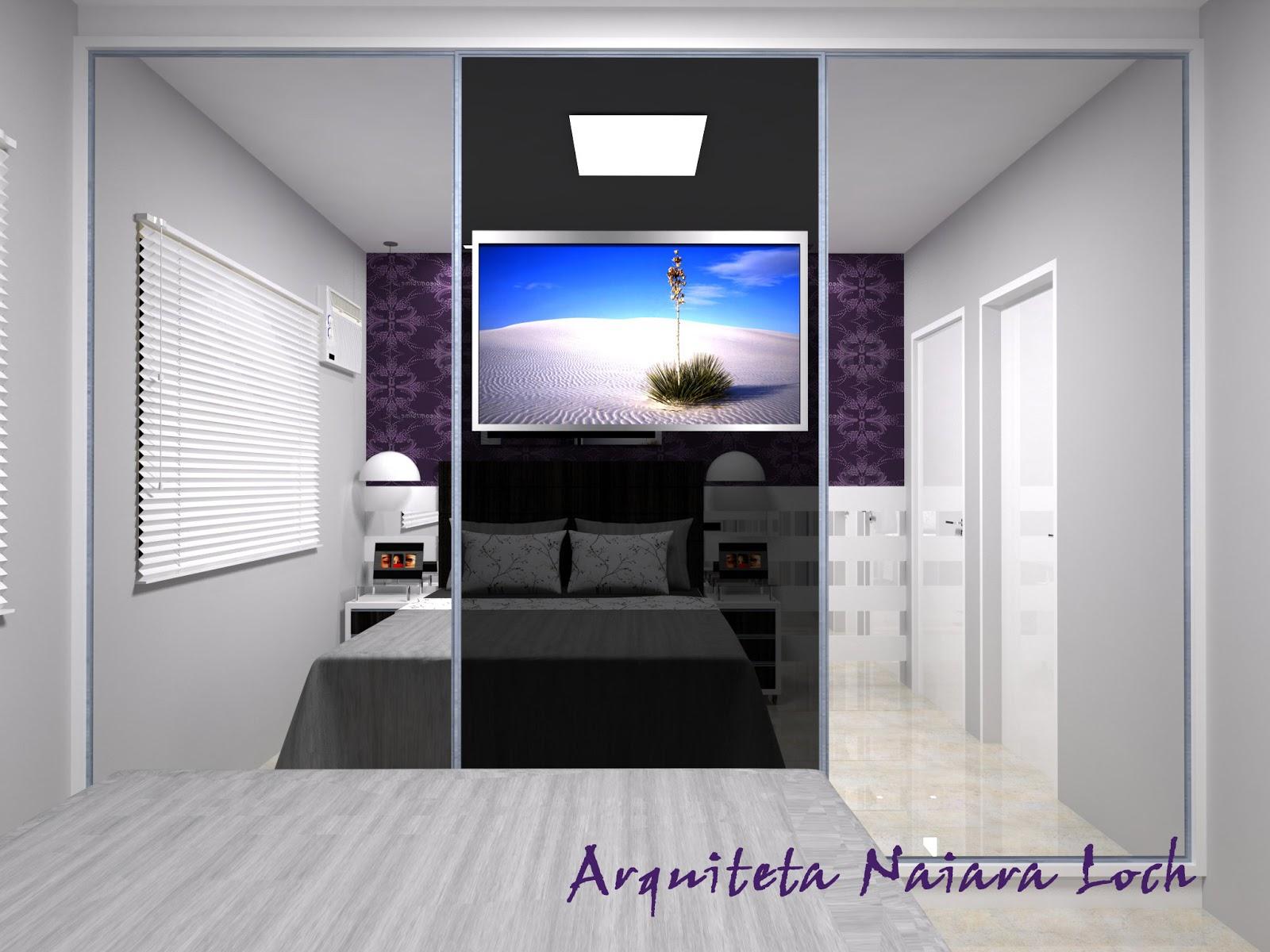 Quarto de casal com papel de parede roxo Arquiteta  ~ Quarto Solteiro Com Tv Na Parede