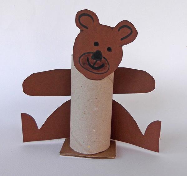 bear crafts, paper bear, cardboard bear, toilet paper roll, toilet roll,