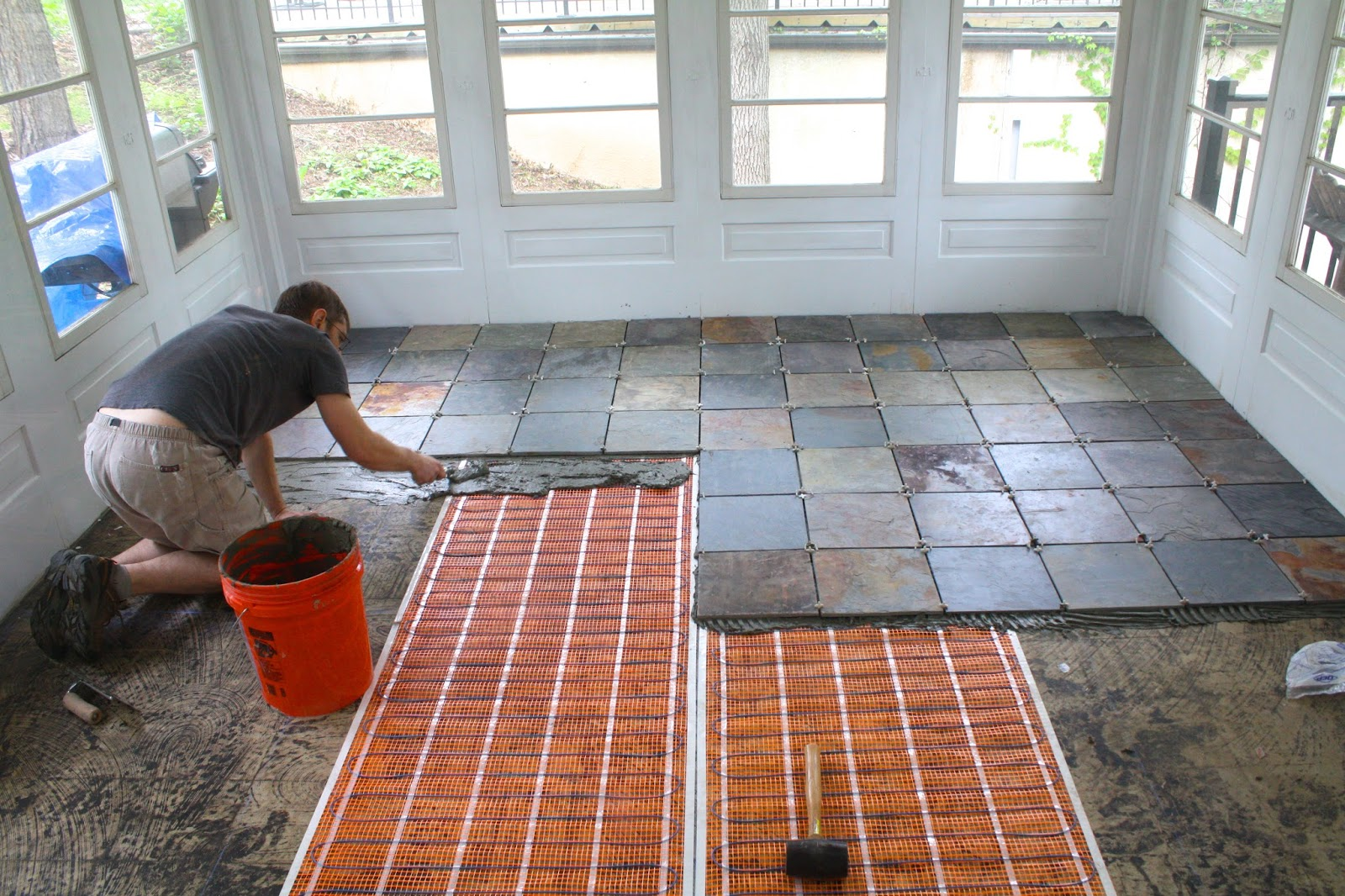 Laying down the tiles took several weekends of during-naptime work ...