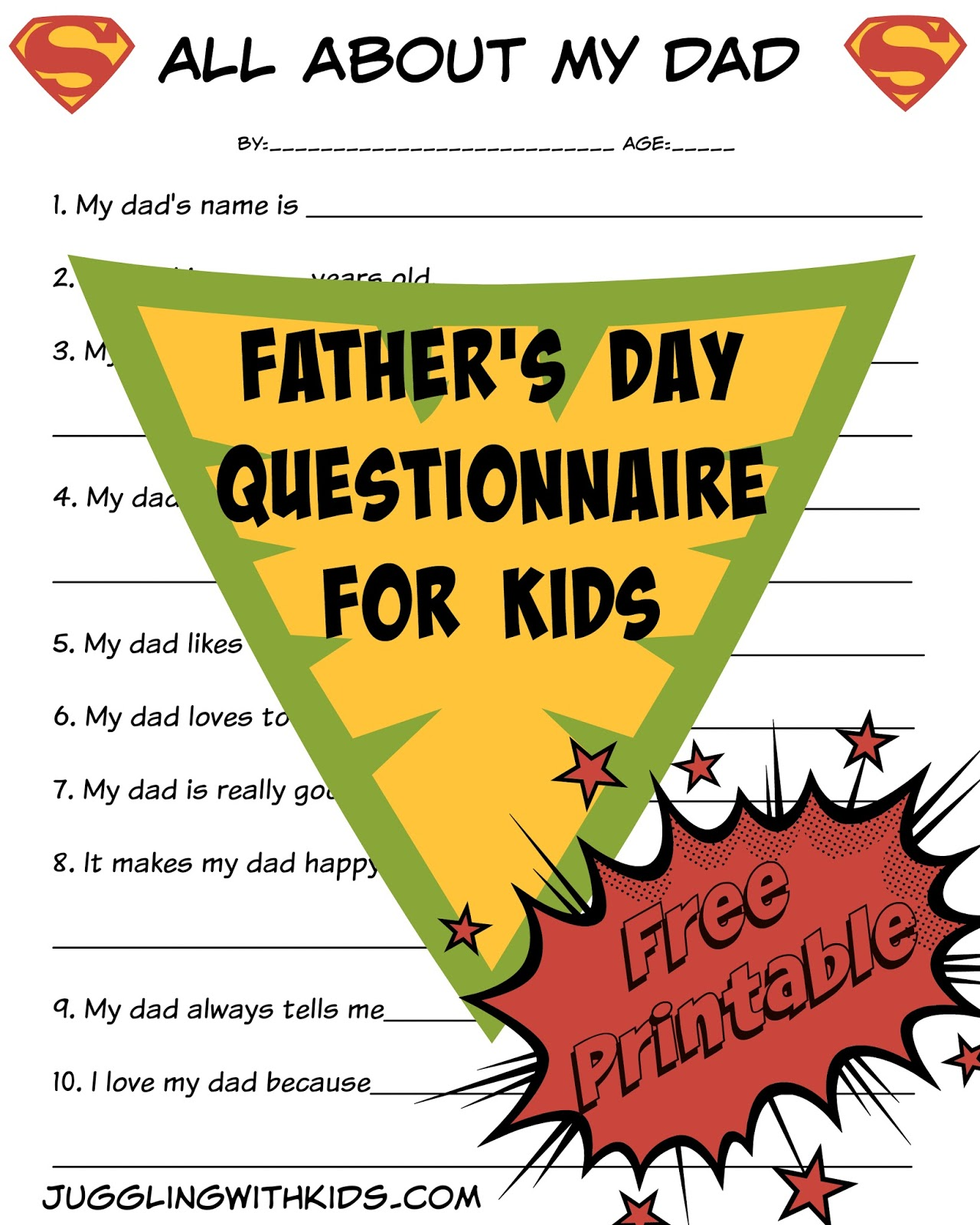 photo relating to Father's Day Questionnaire Free Printable identify Fathers Working day Questionnaire for Little ones Juggling With Children