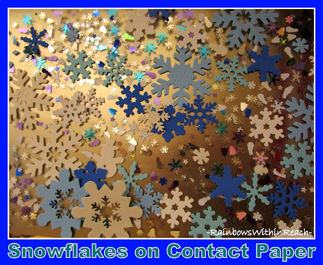 photo of: Snowflakes on Contact Paper via RainbowsWithinReach Snowflake RoundUP