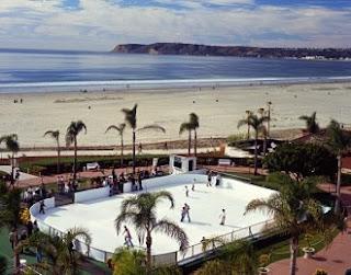 Skating by the Sea at historic Hotel del Coronado. Holiday music, skating overlooking Pacific Ocean.