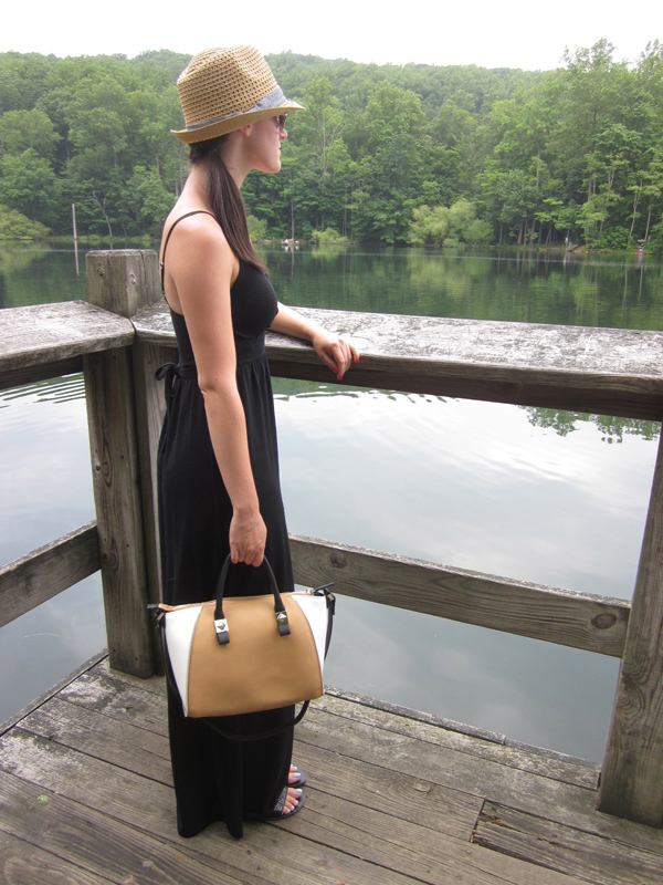black maxi dress, fedora, Target, Zara, bowling bag