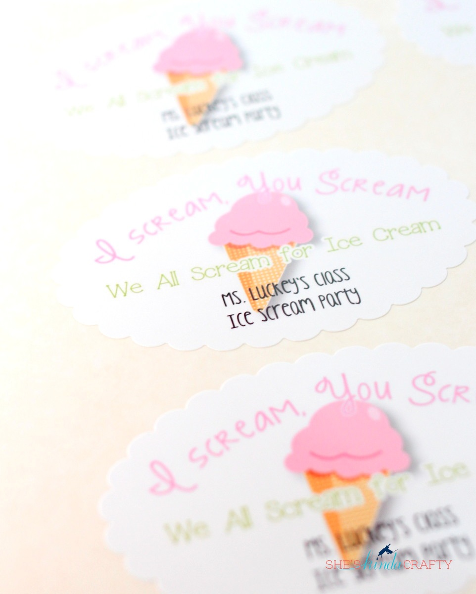 Ice Cream Party Cups with OnlineLabels.com - Shes {kinda} Crafty