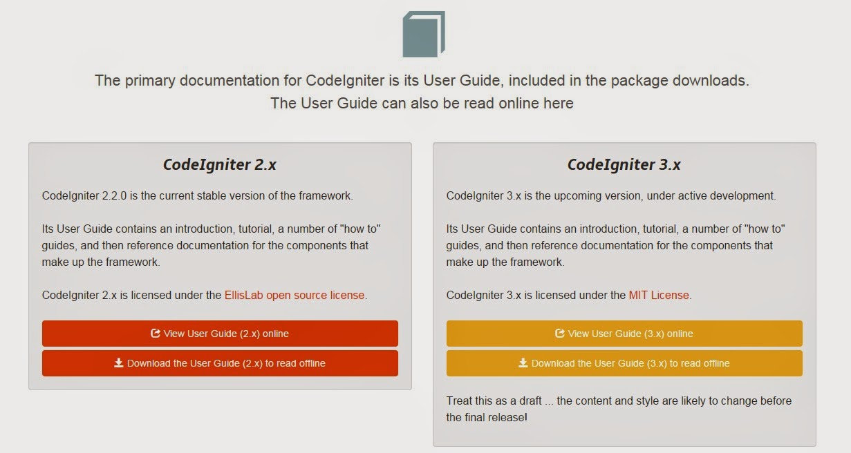 Documentation Codeigniter 2.2.0 and 3.0