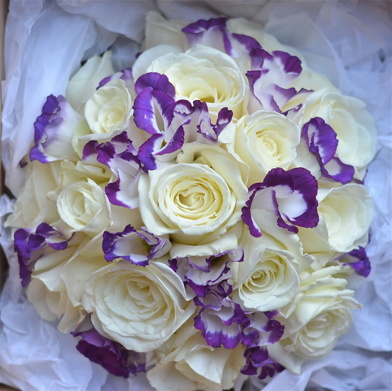 Wedding flowers cery s purple and white