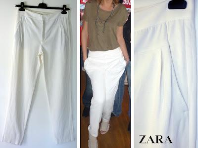 pantalon carotte blanc Zara
