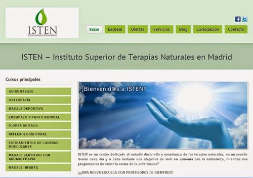 web ISTEN (Instituto Superior de Terapias Naturales) en Madrid: cursos de masajes, quiromasaje, osteopatía, masaje deportivo, reflexología podal, flores de bach, estiramientos, aromaterapia...