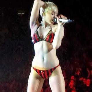 Miley Cyrus performs in her underwear