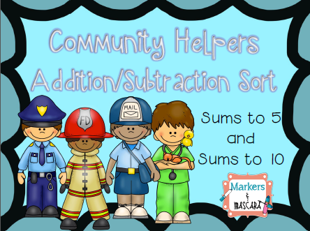 http://www.teacherspayteachers.com/Product/AdditionSubtraction-Sort-Community-Helpers-1413582