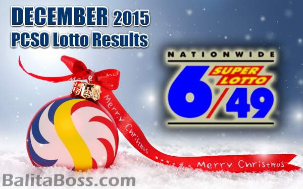 Image: December 2015 SuperLotto 6/49 PCSO Lotto Results