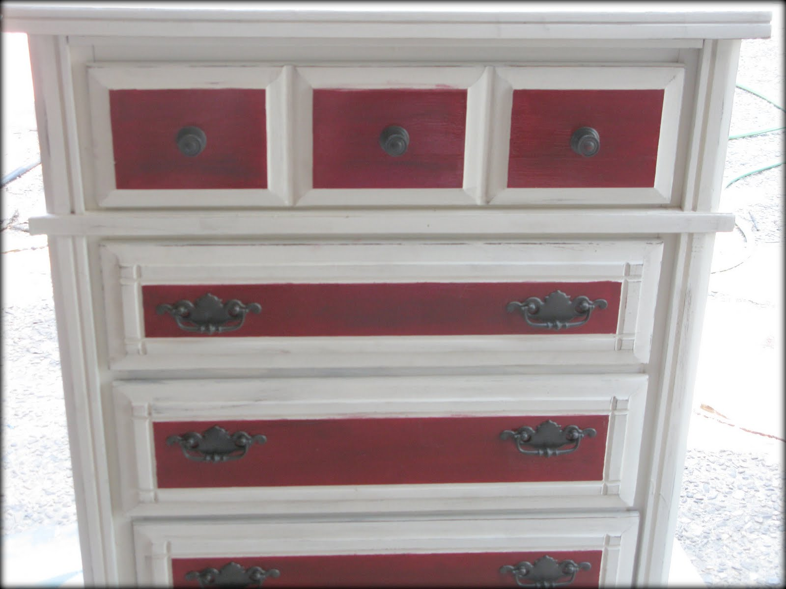 Red And White Distressed Dresser Makeover