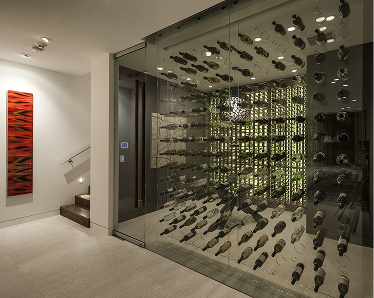 Wine cellar in Sunset Plaza Drive modern mansion in Los Angeles