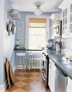 small kitchen in blue with nice lighting and white cabinets