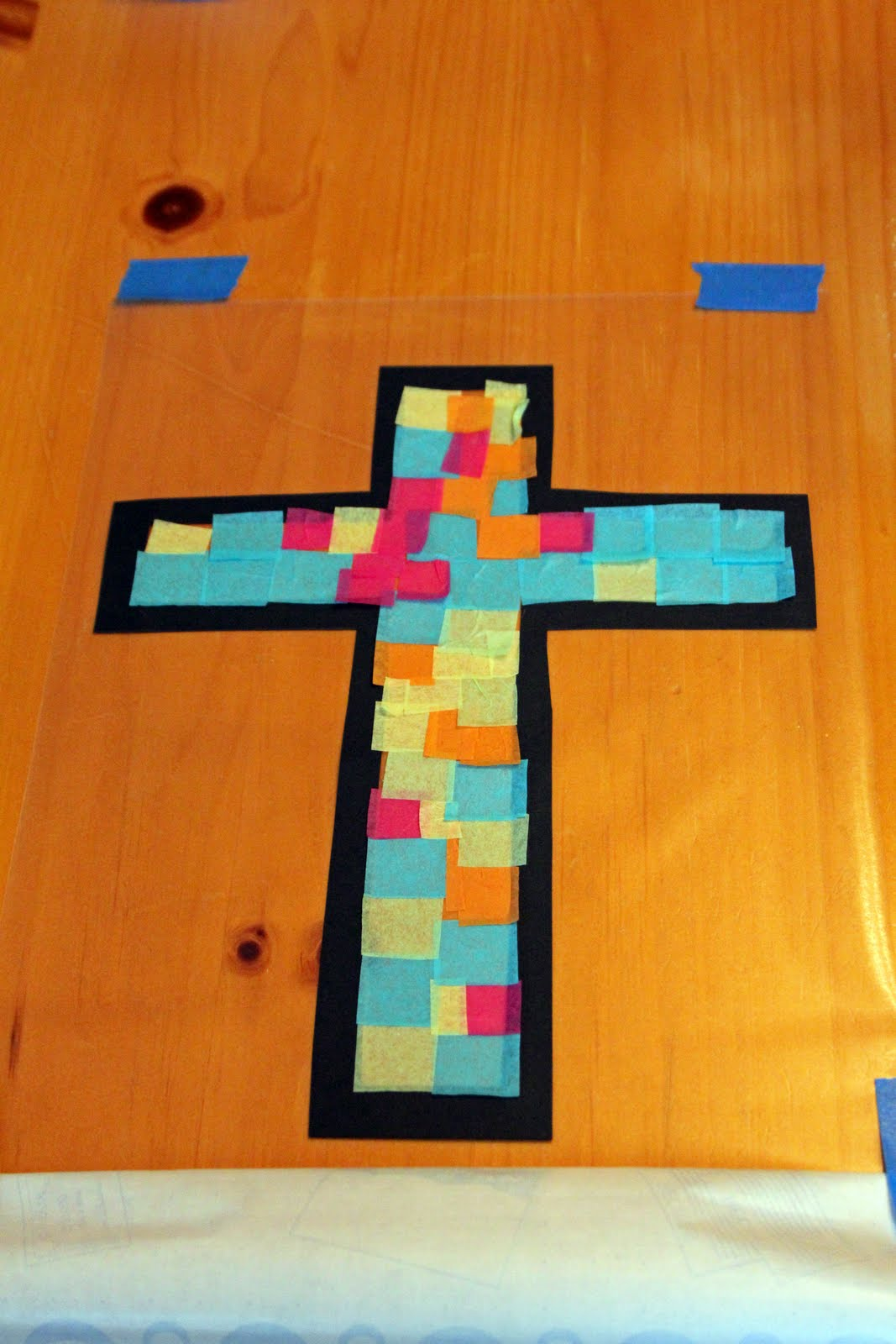 Frills fluff and trucks stained glass cross craft tutorial for Cross craft for kids