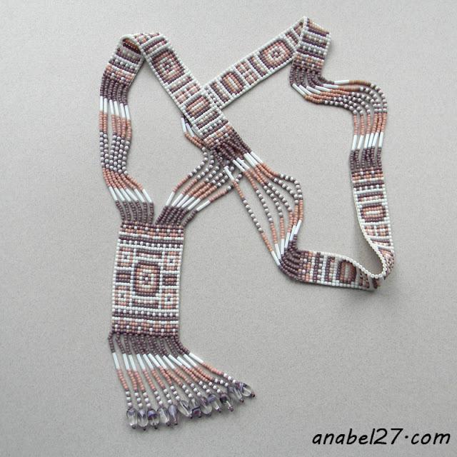 украшения из бисера в стиле этно длинное колье из бисера