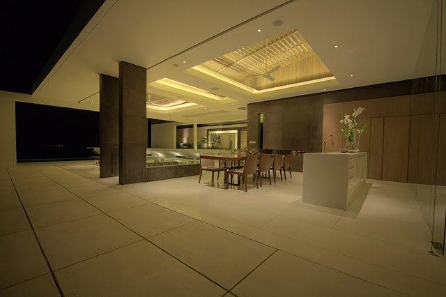 Picture of large open dining room at night