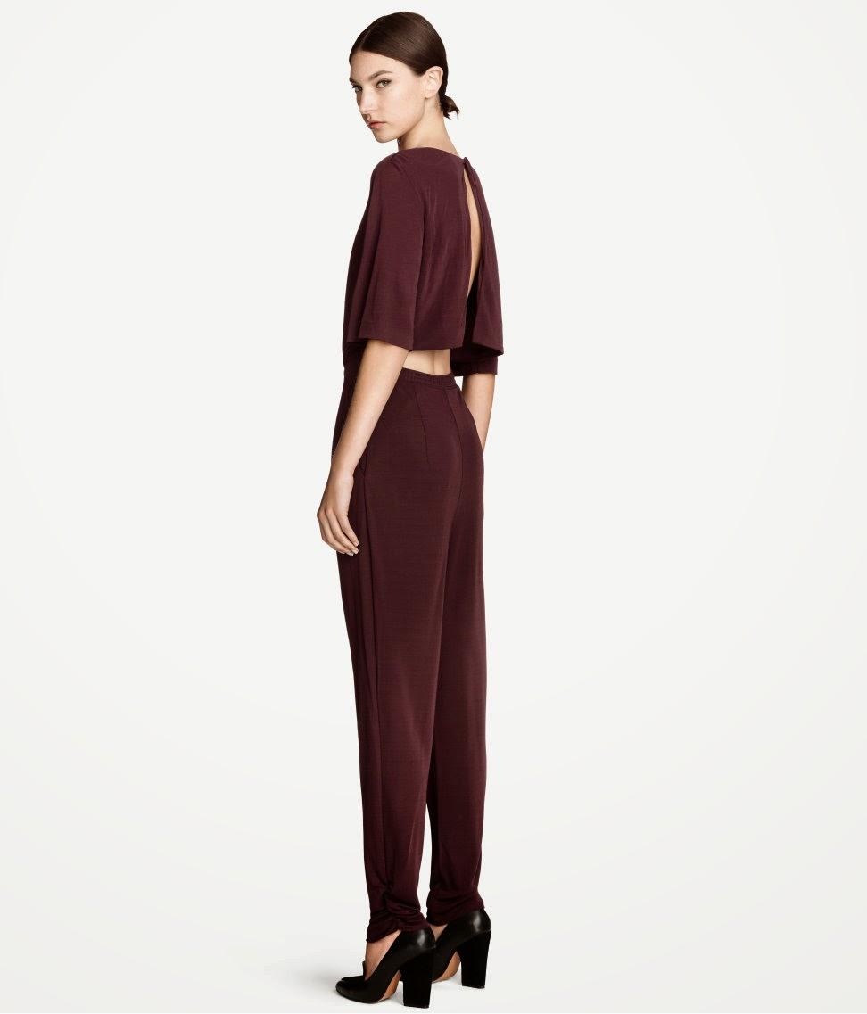 burgundy jumpsuit, hm jumpsuit, h&m jumpsuit,