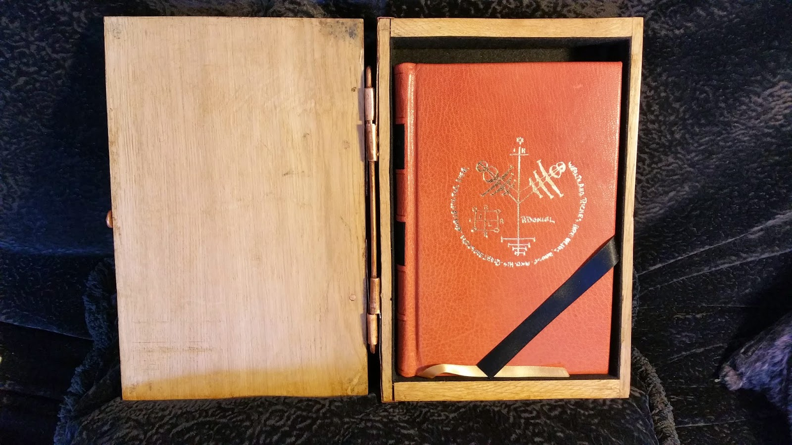 The Book Is Bound In Full, Hand Finished, Terracotta Goat The Leather Has  An Almost Candylike Scent, Like Cherry Taffy The Cover Is Gilt Blocked  With A