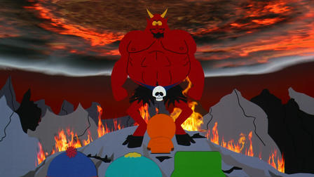 Satan and Saddam in a compromising position in South Park: Bigger, Longer and Uncut
