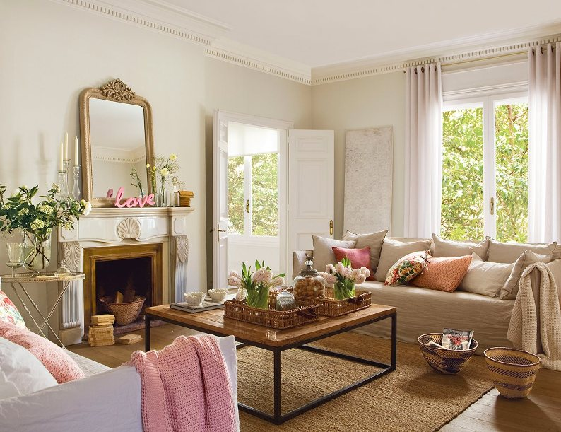 Tres salones de primavera three spring livingrooms for Decoracion salon beige