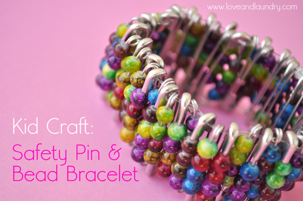 Safety pin bead bracelet kid craft contributor sugar for Beads for craft projects