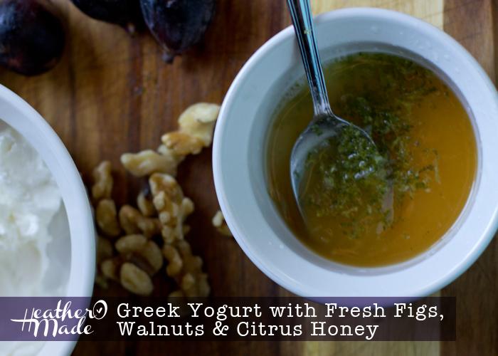 Greek Yogurt with Fresh Figs, Walnuts , Citrus Honey. breakfast recipe.