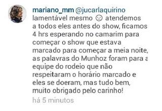 Pelo Instagram Mariano fala que comissão se doeu quando cobrada pelo atraso do show