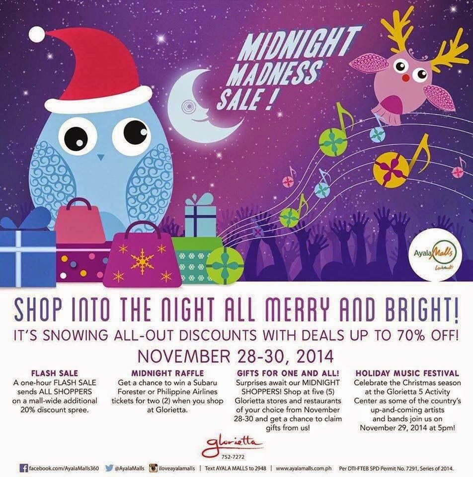 Glorietta Midnight Madness; 70% Off on Nov. 28-30