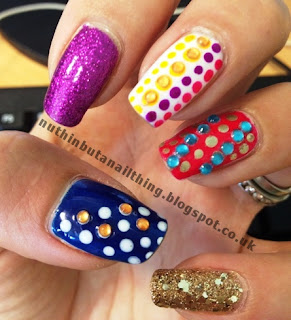 bright dotty glitter nails