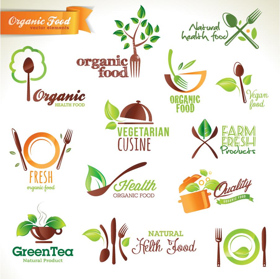 有機食材の料理アイコン集 organic food icon イラスト素材