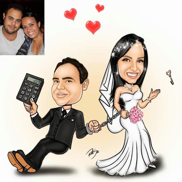 desenho de noiva com algemas e noivo contador
