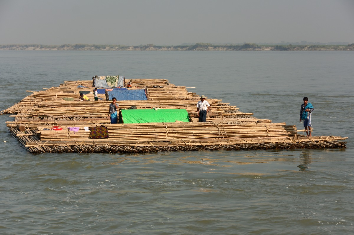 Bamboo raft on Irrawaddy River