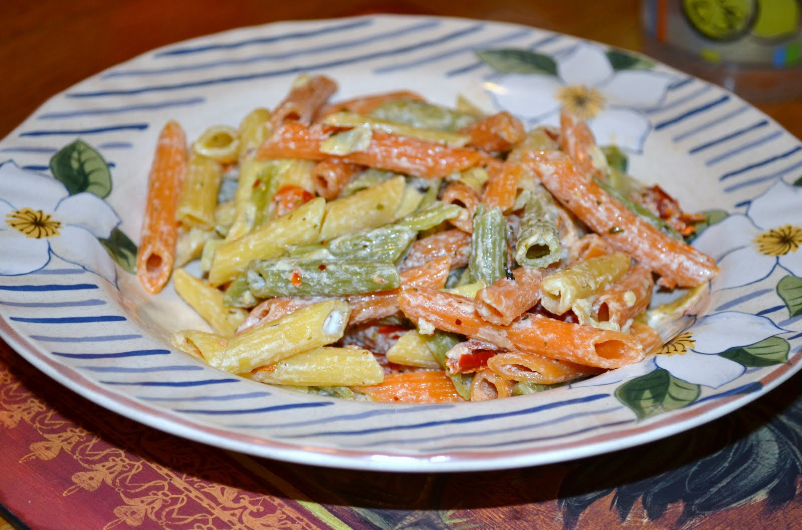 Penne With Sun Dried Tomatoes, Artichokes and Goat Cheese